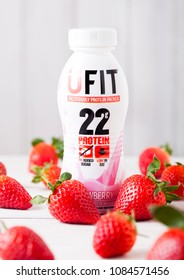 LONDON, UK - MAY 03, 2018: Plastic bottle of UFIT22 strawberry drink on white.