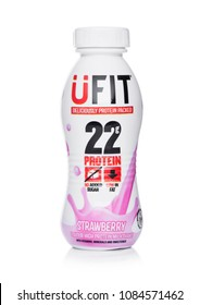 LONDON, UK - MAY 03, 2018: Plastic bottle of UFIT22 strawberry drink on white background.