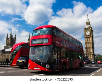London, UK - May 08, 2016: A traditional english red double decker bus on the Westminster bridge in the center of London