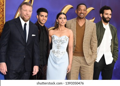 "LONDON, UK. May 09, 2019: Guy Ritchie, Mena Massoud, Naomi Scott, Will Smith & Marwan Kenzari at the ""Aladdin"" premiere at the Odeon Luxe, Leicester Square, London.
