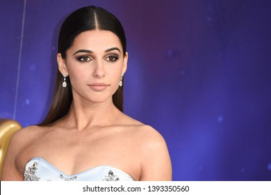 "LONDON, UK. May 09, 2019: Naomi Scott at the ""Aladdin"" premiere at the Odeon Luxe, Leicester Square, London.