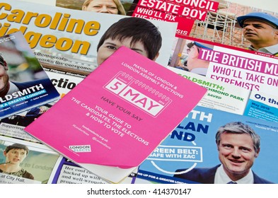 LONDON, UK - MAY 1, 2016:  Election leaflets publicising candidates for the Mayor of London election.  Candidates include Sadique Khan, Zac Goldsmith, Caroline Pidgeon and Sian Berry.