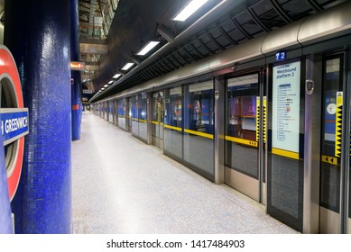 London, UK - May 1, 2018: Jubilee line platform at modern North Greenwich station. The Jubilee line is the newest line on the network.