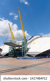 London, UK - May 1, 2018: Stairs to the path on the roof of the O2 Arena in North Greenwich Peninsula