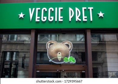 London / UK - May 10 2020: Veggie Pret - vegetarian and vegan only store by lunchtime chain sandwich shop Pret