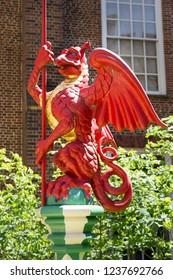 LONDON, UK - May 11, 2018. Dragon in gardens of the Hampton Court Palace. London, Uk - May 11, 2018