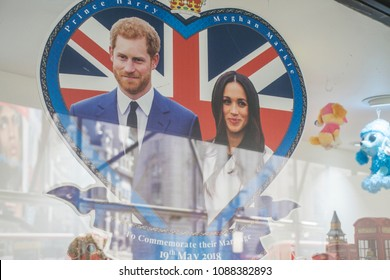 LONDON, UK - MAY 11th 2018: Shop display celebrating the Royal wedding of Prince Harry and Meghan markle.