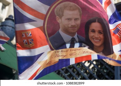 LONDON, UK - MAY 11th 2018: Union jack flag with Price Harry and Meghan Markle on in preperation for the roayl wedding