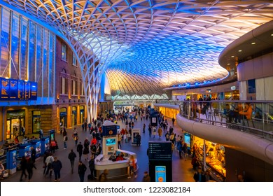 London, UK - May 12 2018: King's Cross railway station  is a Central London railway terminus on the northern edge of the city. It is one of the busiest railway stations in the United Kingdom