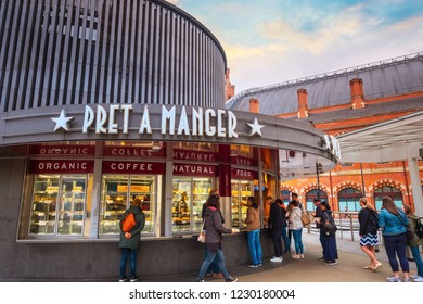 """London, UK - May 12 2018: Pret A Manger founded in 1983 - international sandwich shop chain based in the UK, commonly referred as """"Pret"""", currently has approximately 500 shops in 9 countries"""