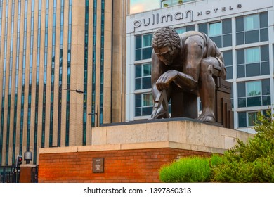 London, UK - May 12 2018: The Newton Sculpture by Eduado Paolozzi  based on William Blake's 1795 print of Newton: Personification of Man Limited by Reason at the British Library