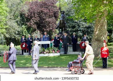 London, U.K. - May 12, 2019: HRH Prince of Wales inspects past and present cavalrymen as part of the 94th annual parade of the Combined Cavalry Old Comrades Association.