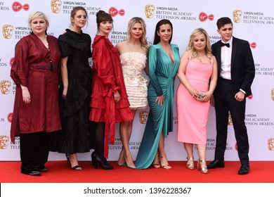 LONDON, UK. May 12, 2019: Derry Girls cast (Siobhan McSweeney, Louisa Harland, Kathy Kiera Clarke, Saoirse-Monica Jackson, Jamie-Lee O'Donnell, Nicola Coughlan & Dylan Llewellyn) at the BAFTA TV Award