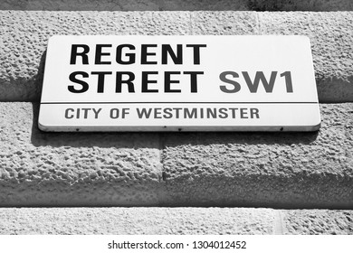 LONDON, UK - MAY 13, 2012: View of Regent Street sign in Westminster, London. London is the most populous urban zone and metropolitan area in the United Kingdom.