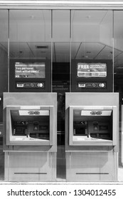 LONDON, UK - MAY 13, 2012: ATMs of Halifax Bank in London. Halifax is part of Lloyds Banking Group, one of largest banking corporations in Europe. Lloyds had GBP 23.5 billion of revenue in 2011.