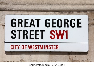 LONDON, UK - MAY 13, 2012: View of Great George Street sign in Westminster, London. London is the most populous urban zone and metropolitan area in the United Kingdom (more than 13 million people).