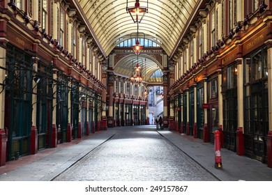 LONDON, UK - MAY 13, 2012: Leadenhall market in London. It is one of the oldest markets in London, dating back to the 14th century.