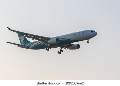 LONDON, UK - MAY 13, 2018: Airbus A330-300 Oman Air approaching to London Heathrow Airport