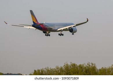 LONDON, UK - MAY 13, 2018: Airbus A350 Asiana Airlines approaching to London Heathrow airport