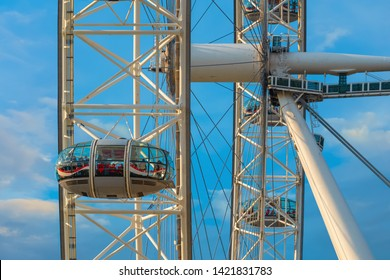 London, UK - May 13 2018: The London Eye is a cantilevered observation wheel on the River Thames, it's Europe's tallest cantilevered observation wheel and the most popular tourist attraction in the UK