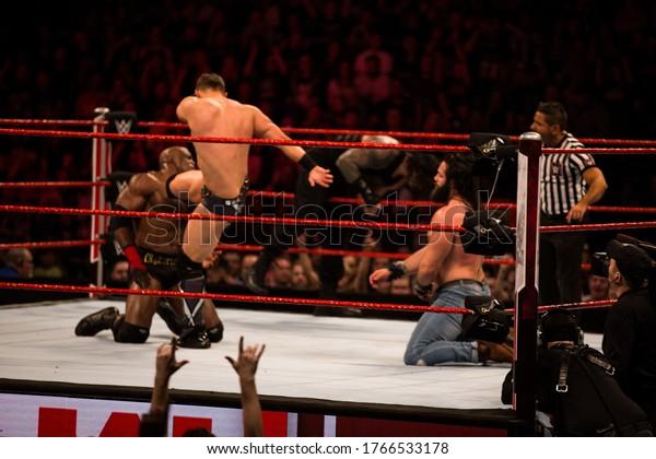 London, UK- May 13th 2019: WWE Monday Night Raw at 02 Arena. London. on the 13th May 2019