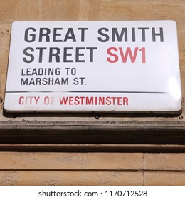 LONDON, UK - MAY 14, 2012: View of Great Smith Street sign in Westminster, London. London is the most populous urban zone and metropolitan area in the United Kingdom.