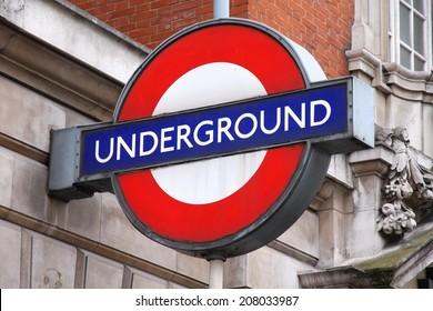 LONDON, UK - MAY 14, 2012: London Underground station entrance in London. London Underground is the 11th busiest metro system worldwide with 1.1 billion annual rides.