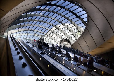 LONDON, UK - MAY 14, 2014  London tube, Canary Wharf station, busiest station in London, bringing about 100 000 office workers every day