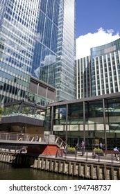 LONDON, UK - MAY 14, 2014: Office buildings modern architecture of Canary Wharf aria  the leading centre of global finance