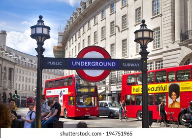 LONDON, UK - MAY 14, 2014: Tube sign Piccadilly Circus in London
