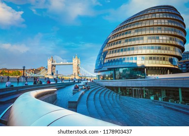 London, UK - May 14 2018: View of Tower bridge over the River Thames with the City Hall on the south bank of the River Thames