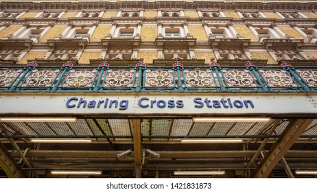 London, UK - May 14 2018: Charing Cross station is the terminus of the South Eastern main line to Dover via Ashford which provides the commuter and regional services to south-east London and Kent