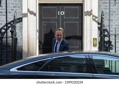London, UK -  May 14 2019.  Matt Hancock MP, Health Secretary leaves Downing Street following a Cabinet meeting.