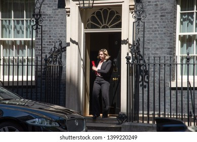 London, UK -  May 14 2019.  Amber Rudd MP, Pensions Secretary leaves Downing Street following a Cabinet meeting.
