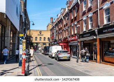 London, UK - May 14, 2019: Street scene in Brick Lane, Shoreditch