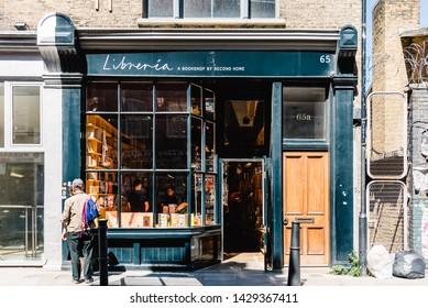 London, UK - May 14, 2019: Cozy bookshop of second hand books in Hanbury Street in Brick Lane area,  Shoreditch