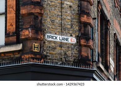 London, UK - May 14, 2019: Brick Lane street name sign in Shoreditch