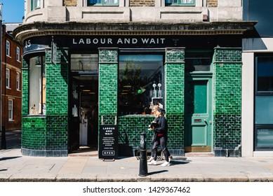 London, UK - May 14, 2019: Vintage houseware shop storefront in Brick Lane area, Shoreditch