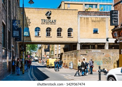 London, UK - May 14, 2019: Scenic view of street in Brick Lane area,  Shoreditch