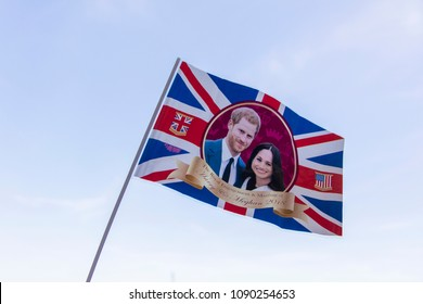 LONDON, UK - MAY 14th 2018: Union jack flag celebrating the Royal wedding of Prince Harry and Meghan markle.