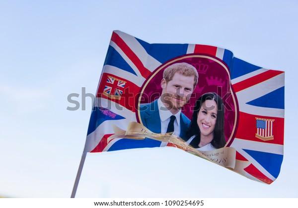 LONDON, UK - MAY 14th 2018: Union jack flag celebrating the Royal wedding of Prince Harry and Meghan markle.