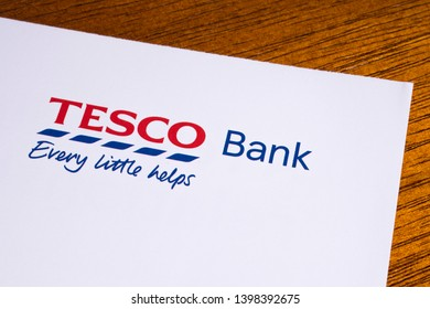 London, UK - May 14th 2019: The logo of Tesco Bank, pictured on the top of an information leaflet.