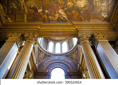 LONDON, UK - MAY 15, 2014: Painted hall in London where Nelson lay in state after his death at the Battle of Trafalgar.