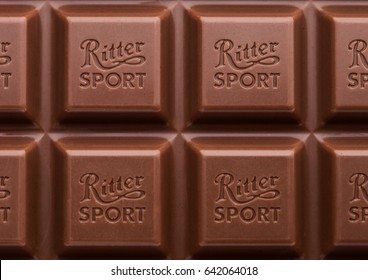 LONDON, UK - MAY 15, 2017:  Ritter Sport milk chocolate bar macro. Ritter Sport chocolate bar made by Alfred Ritter GmbH & Co