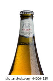 LONDON, UK - MAY 15, 2017: Bottle of Menabrea birra blonda premium lager beer on white background. Italian beer.