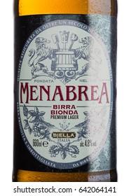 LONDON, UK - MAY 15, 2017: Bottle label of Menabrea birra blonda premium lager beer on white background. Italian beer.