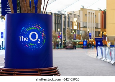 London, UK - May 15, 2017 - Interior of The O2 Arena with its logo in the foreground and shops in the background