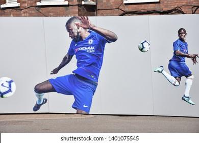 London, UK: May 15, 2019 - New Stadium Stamford Bridge of Chelsea Football Club, professional football club in Fulham with players on walls, London, UK.
