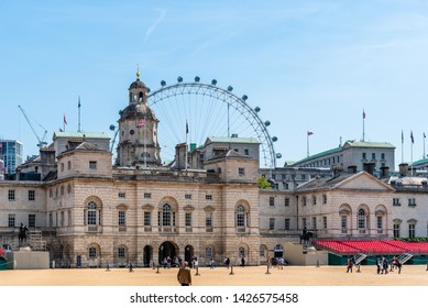 London, UK - May 15, 2019: The Household Cavalry Museum building and bleachers in Horse Guards Parade