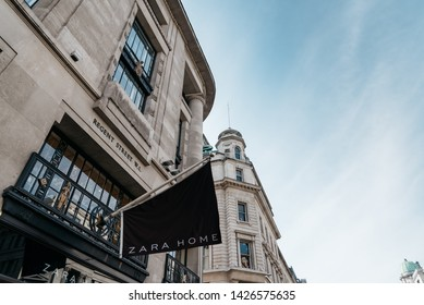 London, UK - May 15, 2019: Zara Home luxury home textiles retail store in Regent Street. The company focuses on retailing housewares